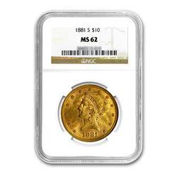 1881-S $10 Liberty Gold Eagle NGC MS62