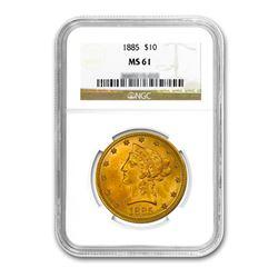 1885 $10 Liberty Gold Eagle NGC MS61