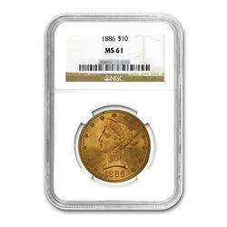 1886 $10 Liberty Gold Eagle NGC MS61