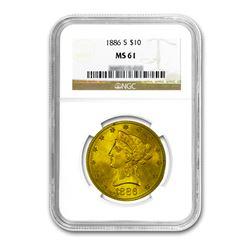 1886-S $10 Liberty Gold Eagle NGC MS61