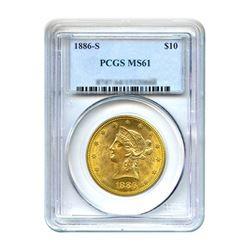 1886-S $10 Liberty Gold Eagle PCGS MS61