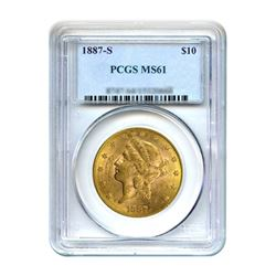 1887-S $10 Liberty Gold Eagle PCGS MS61