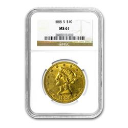 1888-S $10 Liberty Gold Eagle NGC MS61