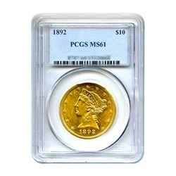 1892 $10 Liberty Gold Eagle PCGS MS61