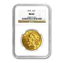 1892 $10 Liberty Gold Eagle NGC MS62