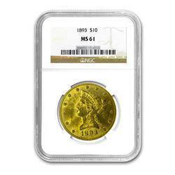 1893 $10 Liberty Gold Eagle NGC MS61