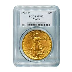 1908-D $20 Saint Gaudens WM PCGS MS63
