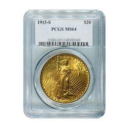 1915-S $20 Saint Gaudens PCGS MS64