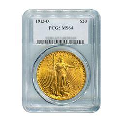 1913-D $20 Saint Gaudens PCGS MS64