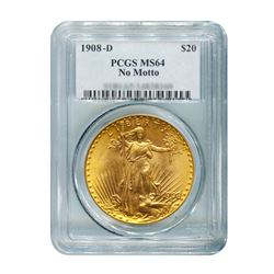 1908-D $20 Saint Gaudens NM PCGS MS64