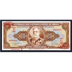 Republic dos Estados Unidos do Brazil De Larue Specimen Note. 1955-1961.