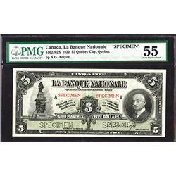 La Banque Nationale, 1922 Specimen Banknote.