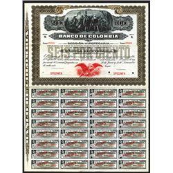 """Banco De Colombia, 1905 Specimen """"Seccion Hipotecario"""" Circulating Bond."""