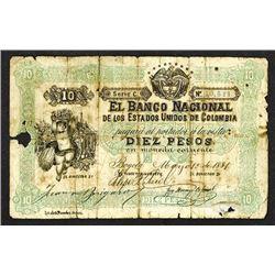 Banco Nacional de los Estados Unidos de Colombia. 1881 First Issue Unlisted Denomination Discovery N