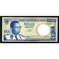 Banque Nationale du Congo. 1961 Issue.