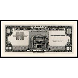 Banco Central De La Republica Dominicana, 1000 Pesos Oro Proof, 1947 ND Issue.