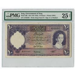 Government of Iraq, L. 1931 (1942) Issue, 10 Dinars of King Faisal II