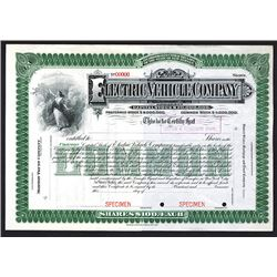 Electric Vehicle Company Specimen Shares. 1904.