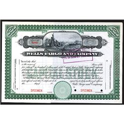 Wells Fargo and Company, ca. 1900 Specimen Stock Certificate.