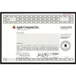 Apple Computer, Inc., 1988 Specimen Stock Certificate.