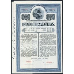 Estado de Zacatecas Specimen Bond.