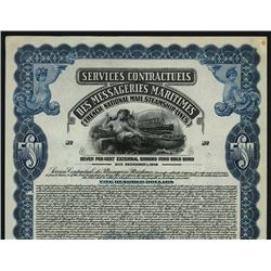 French National Mail Steamship Lines Specimen Bond.