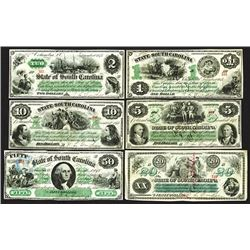 State of South Carolina, $1-$50 Set, 6 Different Denominations.