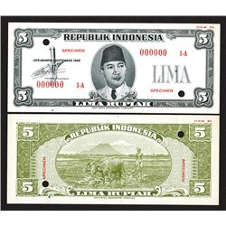 Republik Indonesia, 1948 Essay Uniface Front & Back Banknote Specimens.