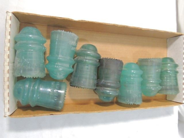 LOT 8 ANTIQUE VINTAGE GLASS INSULATOR JADE CUSTARD