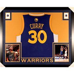 77552e97d Stephen Curry Signed Warriors 35x43 Custom Framed Jersey (JSA COA)