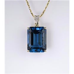 Fantastic London Blue Topaz & Diamond Pendant