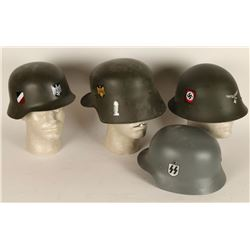 Lot of 4 Repro Nazi Helmets with Decals