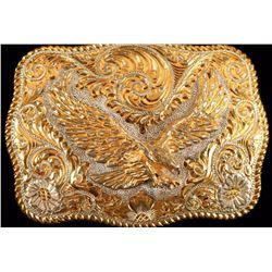 Sterling Silver & 22K Gold Belt Buckle