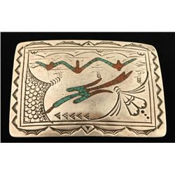 Old Pawn Navajo Stamp & Chip Inlay Buckle