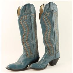 Pair of Blue Ladies Cowboy Boots