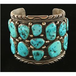Large Turquoise & Sterling Silver Bahe Cuff