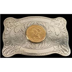 Sterling Buckle with Gold Coin
