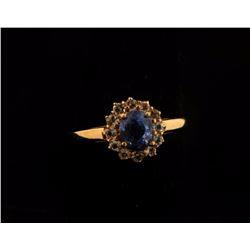 Sapphire & Topaz Halo Ring