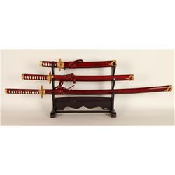 Set of 3 Repro Samurai Swords