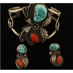 Artist Signed Navajo Turquoise & Coral Cuff with