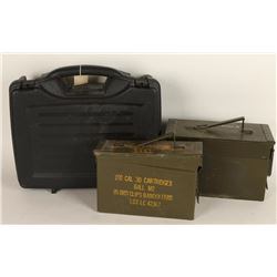 Lot of 2 Empty Ammo Cans & Gun Case