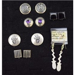 FIVE PAIR NAVAJO/ HOPI EARRINGS