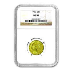 1926 $2.50 Liberty GOLD Quarter Eagle NGC MS63