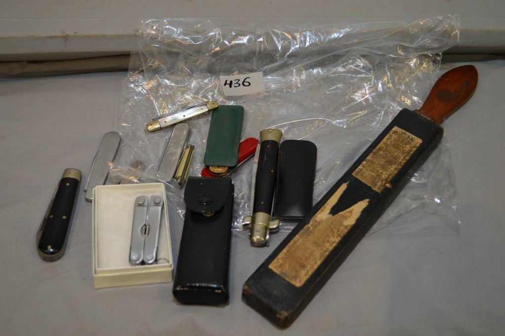 Bag Lot : Antique Permedge Razor Strop in case - Nine Asstd