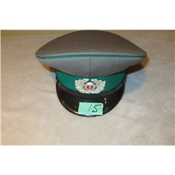 East German Border guard peaked cap grey with green band