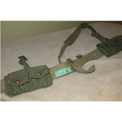 WWII Canadian P37 web belt (combat) c/w 2 P37 cartridge carrier