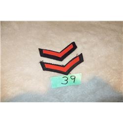 2 Royal Canadian Navy 3-8 year chevrons red w/ black background