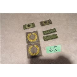2 small CDN shoulder flags green, 2 Canada shoulder patches green, 2 UN crests green