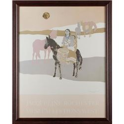 Large framed color print of Indian woman with  child on horseback by Jacqueline Rochester  (1924-201