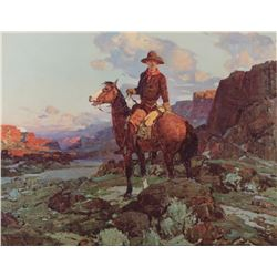 "Color print entitled ""At Day's End"" by noted  Western artist Frank Tenney Johnson (1874-1939),  appr"